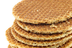 Stacked Dutch waffles called a stroopwafel Royalty Free Stock Photography