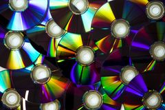 Stacked dvds. On white background Royalty Free Stock Photography