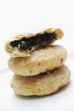Stacked eccles cakes. Isolated on white background Stock Image