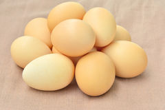 Stacked Egg  On brown sack background. Stock Images
