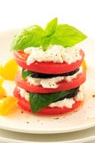 Stacked eggplant ,tomato, basil and  cottage cheese on the white plate Stock Image