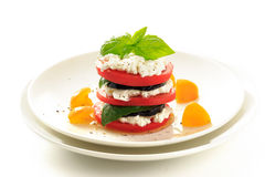Stacked eggplant ,tomato and  cottage cheese Stock Photography