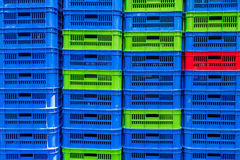 Stacked empty food crates Royalty Free Stock Photos