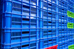 Stacked empty food crates Stock Photos