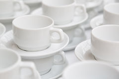 Stacked Empty Teacups at Conference Stock Images