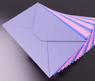 Stacked Envelopes Shows E-mail Message Inbox Mailbox Stock Image