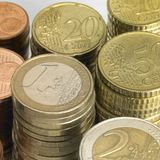 Stacked euro coins Stock Images