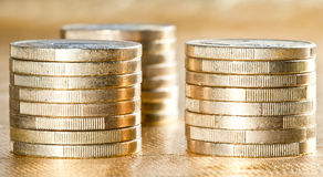 Stacked euro coins Royalty Free Stock Photos