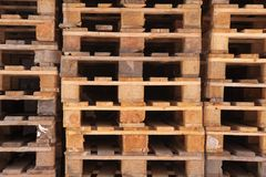 Stacked Euro pallets. In longitudinal view Royalty Free Stock Image