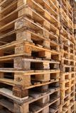 Stacked Euro pallets. Obliquely from the side Royalty Free Stock Photography