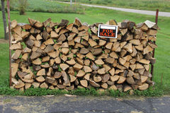 Stacked Face Cord of Split Firewood Stock Images
