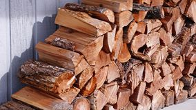 Stacked Fire Wood. A pile of split firewood neatly stacked and organized in front of a shed royalty free stock photography