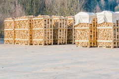Stacked fire wood Stock Photos