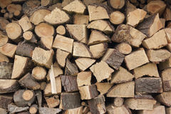 Stacked fire wood Royalty Free Stock Images