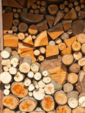 Stacked firewood. Neatly stacked firewood creates intersting pattern Royalty Free Stock Images