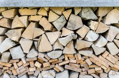 Stacked firewood. A background with old, stacked firewood Royalty Free Stock Image