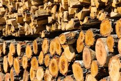 Stacked of firewood background Royalty Free Stock Photos