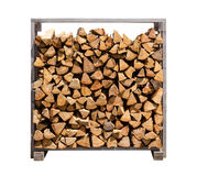 Stacked Firewood Isolated on white Royalty Free Stock Photos