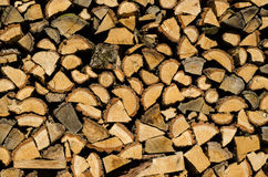 Stacked firewood prepared for the winter. Stock Photos