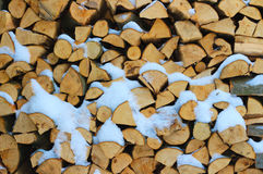 Stacked firewood in winter under the snow Royalty Free Stock Photos