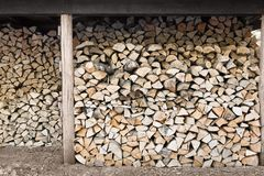 Stacked firewood in wood shed. Woodpile stockpile royalty free stock image