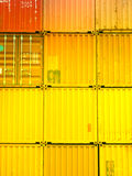 Stacked freight containers. Shipping export freight containers closeup Royalty Free Stock Photo