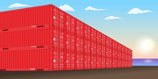 Stacked freight containers at a sea port dock. Vector illustration. vector illustration