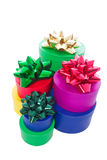 Stacked gift boxes and bows Royalty Free Stock Photos