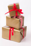 Stacked gift boxes Royalty Free Stock Images