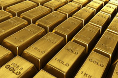 Stacked gold bars. 3d rendering of stacked gold bars Royalty Free Stock Image