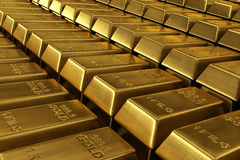 Stacked gold bars. 3d rendering of stacked gold bars Stock Photo