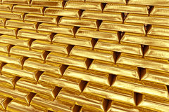 Stacked gold bars Royalty Free Stock Images