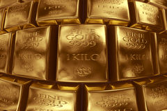 Stacked gold bars Stock Images