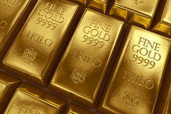 Stacked gold bars Stock Photos