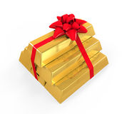 Stacked Gold Bars with Red Ribbon Stock Photos