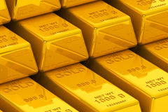 Stacked golden bars Royalty Free Stock Images