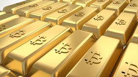 Stacked golden bars with bitcoin symbol, closeup stock illustration