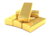 Stacked golden bars Royalty Free Stock Photos