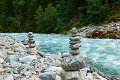 Stacked granite pebbles in buerdalen Stock Photo