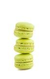 Stacked green cake macaron  on white background, maccarone sweet dessert Royalty Free Stock Photography