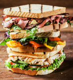 Stacked grilled sandwiches with fresh ingredients. Including rare roast beef,chicken breast and cheese all served with herbs and fresh salad ingredients for a Royalty Free Stock Photo