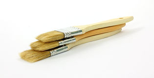 Stacked Group Disposable Paint Brushes Royalty Free Stock Images