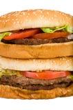 Stacked hamburgers close-up Royalty Free Stock Photo