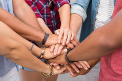Stacked hands of friends Royalty Free Stock Photo
