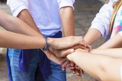 Stacked hands, friendship. Fellowship and team Royalty Free Stock Photography