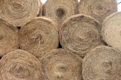 Stacked Hay Bales After the Harvest Stock Images