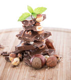 Stacked Hazelnut Chocolate (on white) Stock Photos