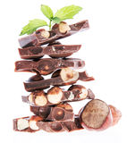 Stacked Hazelnut Chocolate (on white) Royalty Free Stock Photography