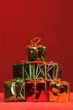 Stacked holiday packages stock photography