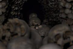 Stacked Human skulls and bones. In Church of Bones in Kutna Hora, Czech republic Royalty Free Stock Photo